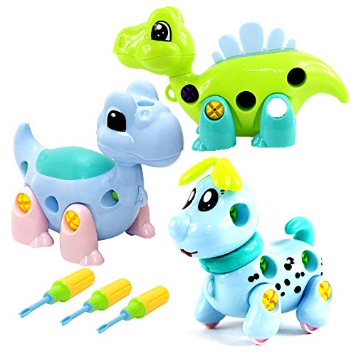 3 Pack Take Apart Dinosaur Dog Toy Set with Tools|Kids can Takeapart &Re-Assemble|Promotes STEM Learning for Boys Girls