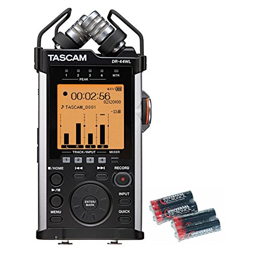 Tascam DR-44WL Portable Handheld Recorder with Wi-Fi and Free 4 Universal Electronics AA Batteries by Tascam
