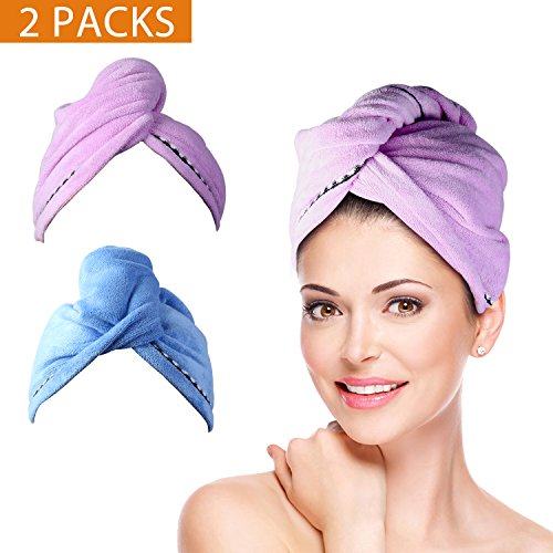 2 Pack Hair Towel Wrap Turban Microfiber Drying Bath Shower Head Towel with Buttons, Quick Magic Dryer, Dry Hair Hat, Wrapped Bath Cap By Duomishu (Blue & Purple)