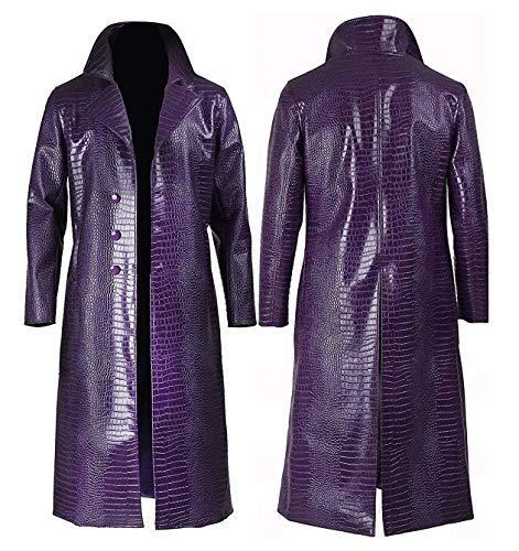 Halloween Party Coat | Mens Stylish Movies Leather Jacket Costumes Coat | Joker Purple Long Coat (M)