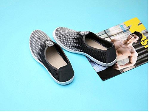 UPWalker Herren Wasser Schuhe schnelltrocknend atmungsaktiv Mesh Slip-On Sneaker Grau