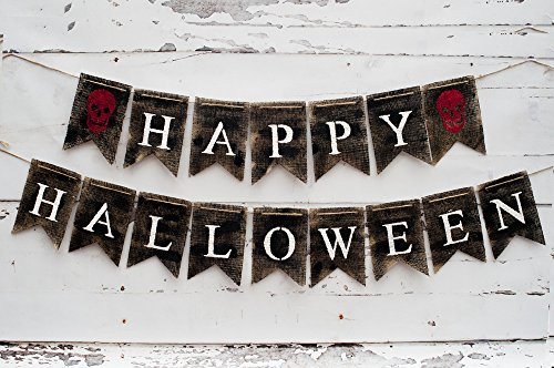 Halloween Decoration, Happy Halloween Banner, Skull Sign