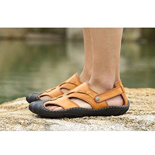 Sandali sandali libero adatti coperto spiaggia al per traspiranti all'aperto 42 per uomo pelle Color tempo Yellow antiscivolo la da il Size EU 3 e sandali in 2 Coffee regolabili 7IxrqIwa