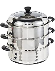 Dolphin Collection DXDJ054 Stainless Steel Steamer Pot, 3-Layers, 23.67L