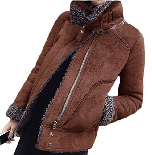 Coat Coffee Warm today Womens UK Lined Suede Faux Winter Lapel Fleece OgxSzg