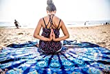 Oceanic Aura Mandala Round Tapestry Hippie Indian Mandala Beach Roundie Picnic Table Throw Hippy Bohemian Spread Boho Gypsy Cotton Tablecloth Beach Towel Meditation Round Yoga Mat - 72 Inches, Blue