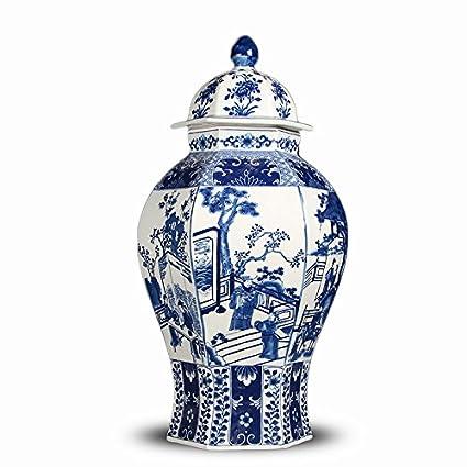 462d072515 Amazon.com  ALL DECOR Classic Asian Blue and White Ceramic Urn Fine ...