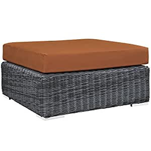 LexMod Summon Outdoor Patio Square Ottoman, Canvas Tuscan