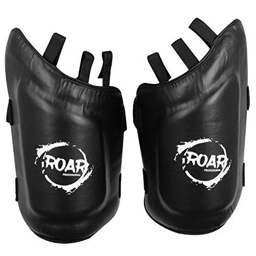 Roar MMA Training Leg Guards Protective Thigh Pads Kickboxing (Black, Pair)