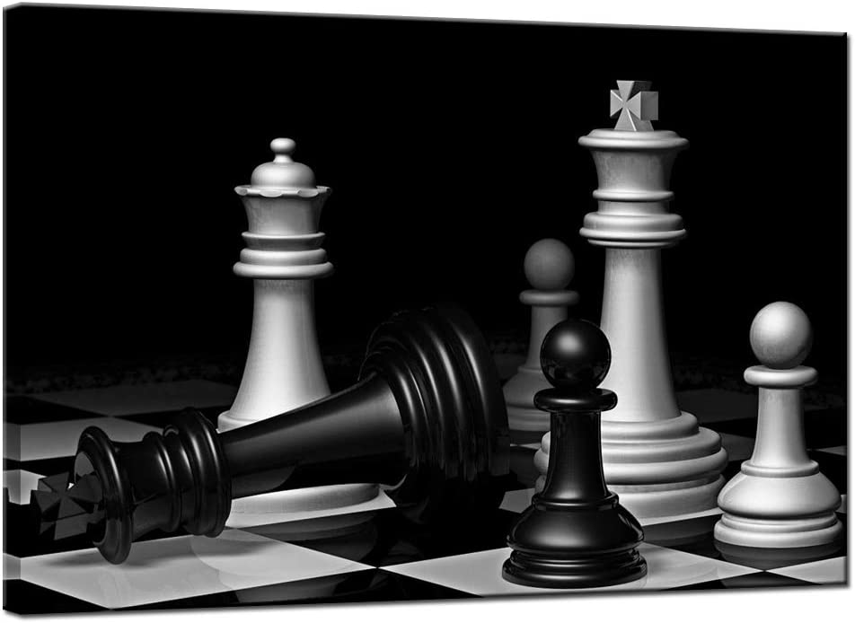 LevvArts Black and White Chess Board Canvas Wall Art Modern Game Picture Poster Prints for Home Office Pub Decoration Gallery Wrapped Ready to Hang