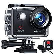 Victure 4K 60FPS Touch Screen Action Camera with 8X Zoom, Dual Microphone, Remote Control, Upgraded EIS, 40M Underwater…
