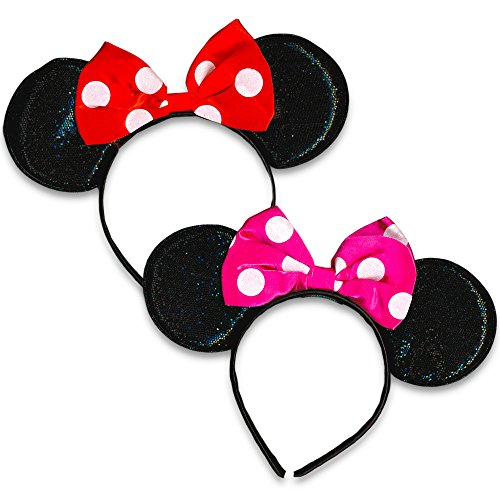 Disney Minnie Mouse Sparkled Ears, with Assorted Red or Pink Bow (2 Pack)