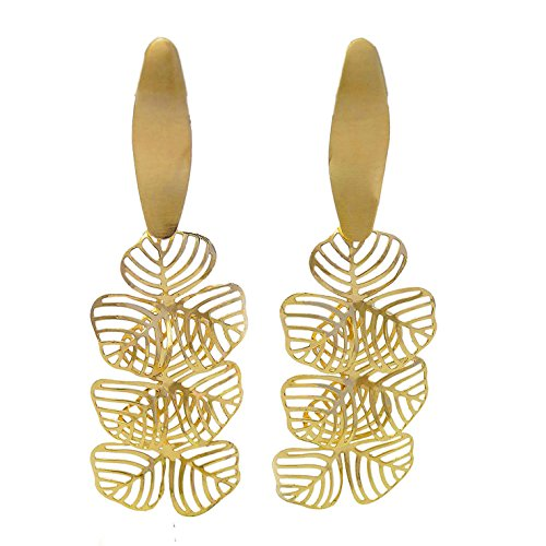 Yulaili Women's Jewelry African Unique Stud Drop Copper Hoop Clip Bridal Earrings 22k Fashion Gold Plated ()