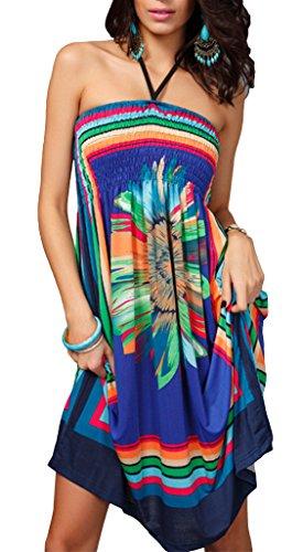 Vita Dress Fiore Halter Donna la cassa Blu Beach spostato COMVIP tq408nw