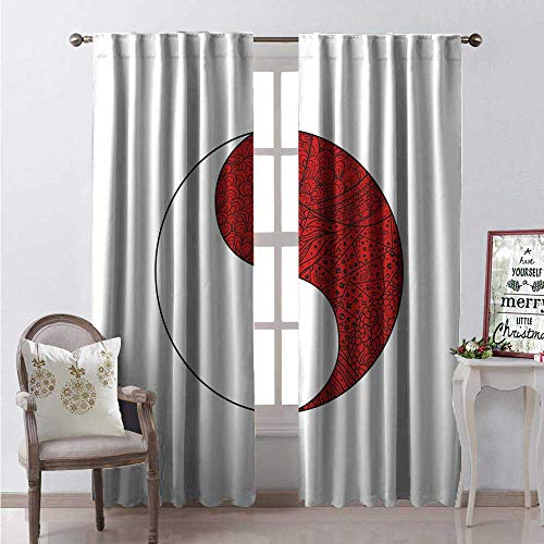 Hengshu Zentangle Waterproof Window Curtain Yin Yang Symbol Design Different Ornaments Harmony Sign Decorative Curtains for Living Room W108 x L108 Vermilion White Charcoal Grey