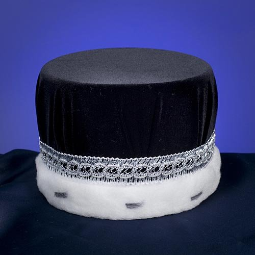 Men's Black and Silver Royal Pill Box Hat - DeluxeAdultCostumes.com