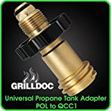 Universal Fit Propane Tank Adapters POL to QCC1 Wrench to Hand Tighten Old to New Style Refill Adapter - 100% Solid Brass - 11051
