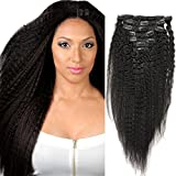 12Inch-28Inch Afro Kinky Straight Clip in Hair Extension ,100% Virgin Brazilian Human Hair for Black women, Unprocessed 6A Grade 7 pieces/ set Natural color 70G(14
