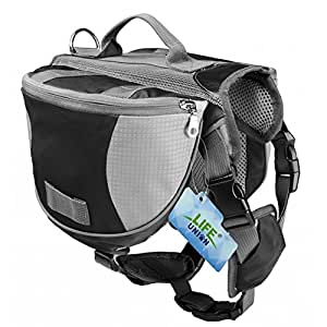 Lifeunion Saddle Bag Backpack for Dog, Tripper Hound Bag Travel Hiking Camping (Black + Grey, S)