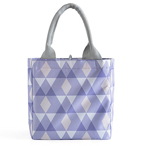 Tote Pail - Oyachic Thermal Lunch Bag Insulated Tote Leakproof Drawstring Bag with Foil Liner for Office, School and Picnic (Purple diamond)