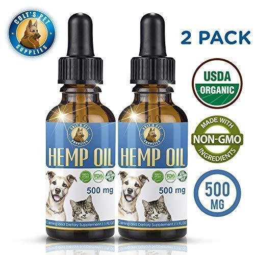 Colts Pet Supplies Hemp Oil for Dogs and Cats [Two Pack] Full Spectrum Hemp Extract | All Natural Pain Relief for Dogs, Calming, Hip, and Joint Support | Stress and Anxiety Relief