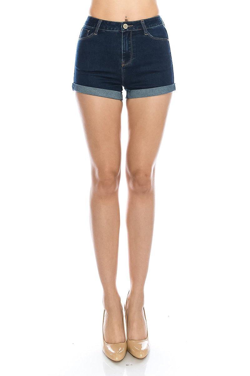 Js47812 Dark Instar Mode Womens Mid Waist Casual Denim Shorts