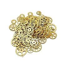 100 Gram Assorted Antique Steampunk Gears Watch Gear Cog Wheel Sets (Golden)