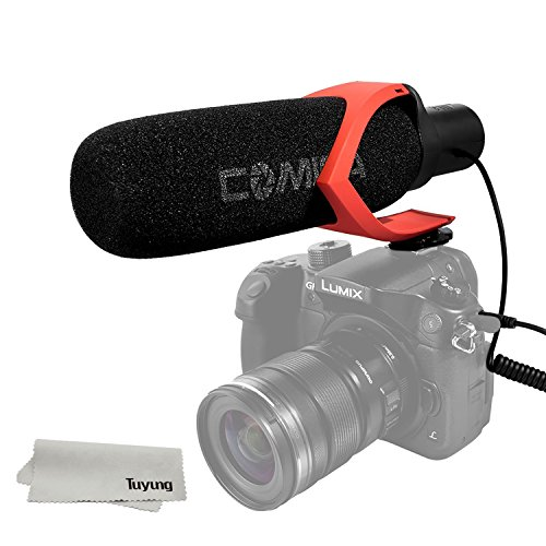 COMICA CVM-V30 Hyper-Cardioid Directional Condenser Shotgun Video Mic,Youtube Vlogging Interview Microphone For camera, camcorder, and professional video shooting equipments (Red) by Comica