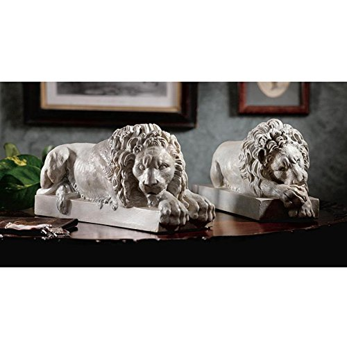 Century Fireplaces 18th (Design Toscano Canova Lions from the Vatican Statues, 12 Inch, Set of Two, Polyresin, Antique Stone)