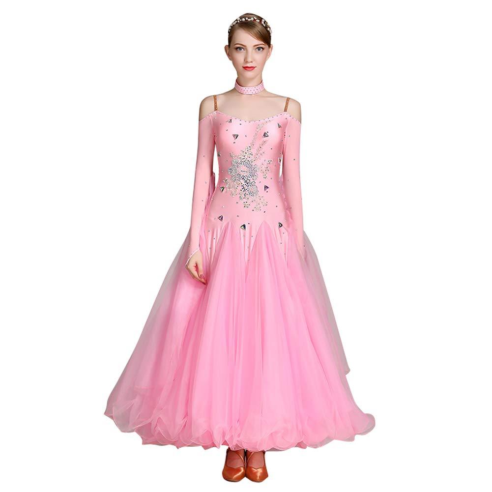 31f10c2c47acf RIKOUZY 豪華 爽やかなワンピース 社交ダンスドレス ロング丈 広く裾 モダンダンス衣装 ワルツ