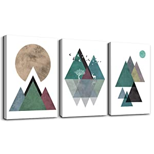 Modern Abstract Canvas Wall Art for Living Room Canvas Prints Artwork,Bathroom Wall Decor Abstract Mountain Geometric Picture Watercolor Painting ,3 Pieces Bedroom Home Wall Decorations Office Mural