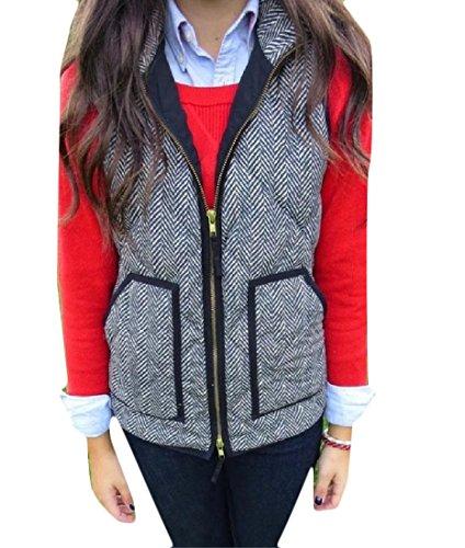 XTX Women Pure Color Pockets Pin Stripe Zip Vogue Vest Jacket Outwear Pattern1 L