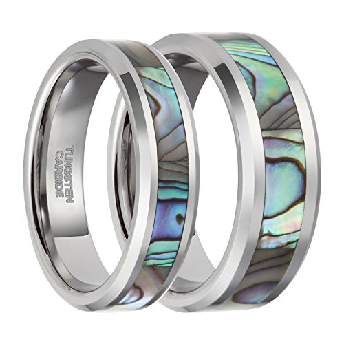 Tungsten Abalone Shell Inlay Couple Ring Set Wedding Band Beveled Edge 6mm 8mm