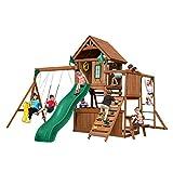 Swing-N-Slide WS 8352 Knightsbridge Ultimate Swing Set with Slide, Monkey Bars, Climbing Wall, Wood Roof, Picnic Table & Glider, Wood