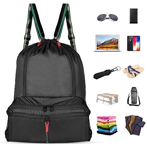 DAYGOS Drawstring Backpack Lightweight Foldable Waterproof Sports Gym  Sackpack Bag Black e44f96e979ef9