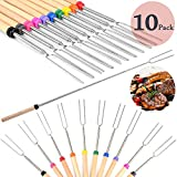 Coffee4u Marshmallow Roasting Sticks, Set of 10 Barbeque BBQ Skewers, 32-inch Long Extended Smores & Hot Dog Fork with Wooden Handle for Campfire Pit.