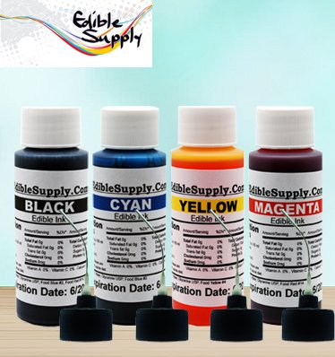 Edible Supply 9 oz Bk/c/m/y Edible Ink Refill Bottle Combo for All Canon Printer by Edible Supply