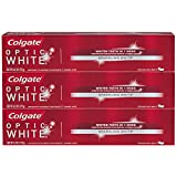 white Colgate Optic White Whitening Toothpaste, Sparkling Mint - 6.3 ounce (3 Pack)
