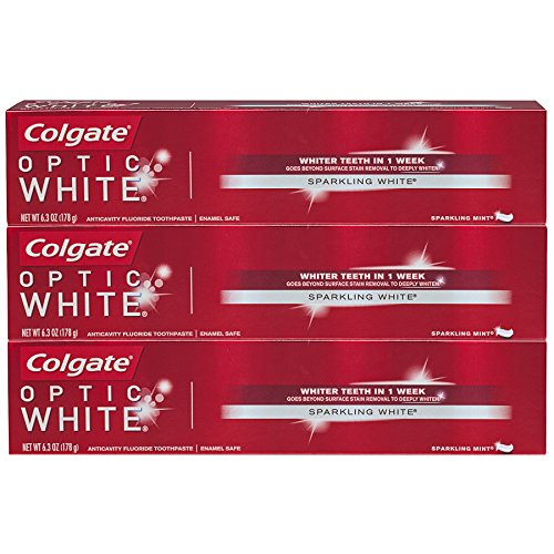 Colgate Optic White Whitening Toothpaste, Sparkling Mint - 6.3 ounce (3 Pack)
