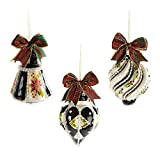 MacKenzie-Childs Holly Fancy Ornaments - Set of 3