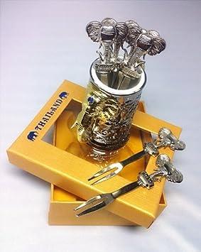 Tenedor Fruta De Cruce tailandés hecho a mano elefante acero inoxidable 6 piezas y jarrón para acero inoxidable: Amazon.es: Hogar