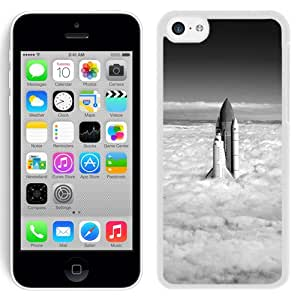 Grayscale Rocket Up Towards Cloudy Sky (2) Durable High Quality iPhone 5C Phone Case