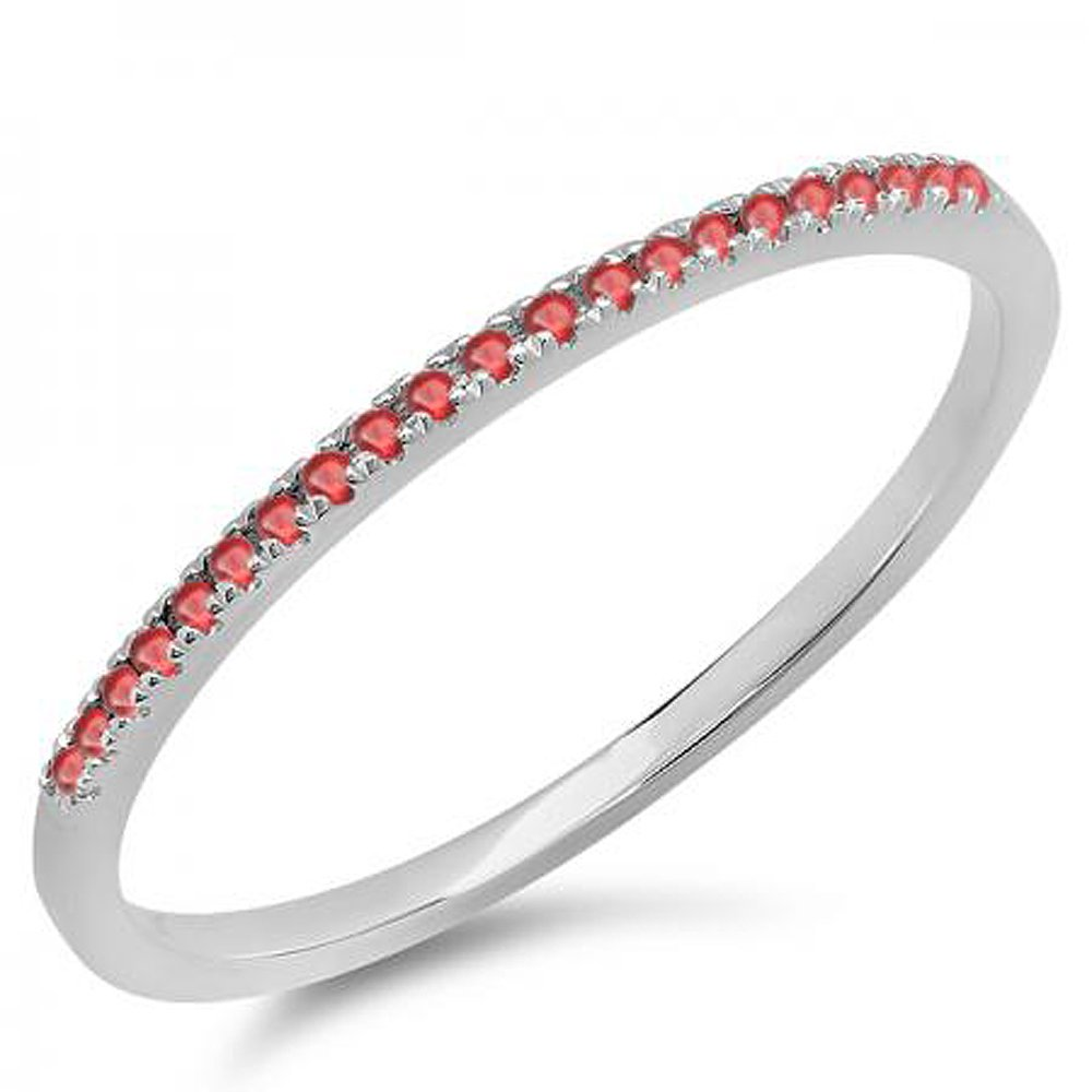 0.08 Carat (ctw) 14K White Gold Round Ruby Ladies Dainty Anniversary Wedding Stackable Ring (Size 6.5)