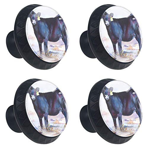 jessgirl Farm Animal Cow Drawer Knobs Handles Pulls for Cupboard Dresser Office with Screws DIY(Pack of 4)