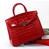 MACTON Genuine Leather bag Crocodile top-handle bag MC-8001 (35CM, Red)