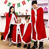 Womens Christmas Halloween Costumes Cloak Mrs. Santa Claus Cardigan Red Velvet Hooded Cape Xmas Party Costume Robe Wrap