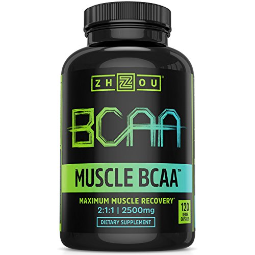 Zhou Nutrition Muscle BCAATM - Branched Chain Amino Acids with Optimal 2:1:1 Ratio - Build Muscle, Improve Recovery and Increase Endurance, 120 BCAA Capsules.