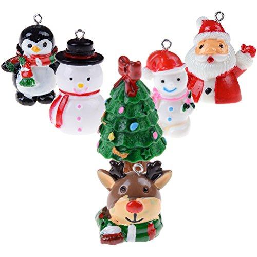 JUNKE 6 PCS 3D Pop Mini Christmas Miniature Ornaments Pendant Charms Xmas Tree Santa Snowman Elk Penguin Key Chain Hanging Decoration