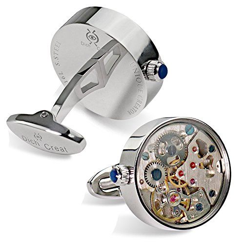 Dich Creat Men's Stainless Steel Wind-up Working Movement Cufflinks Covered with Glass by Dich Creat