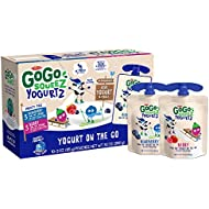 GoGo squeeZ yogurtZ, Variety Pack (Blueberry/Berry), 3 Ounce (10 Pouches), Low Fat Yogurt, Gluten Free, Pantry-friendly, Recloseable, BPA Free Pouches